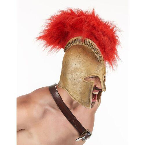 Vegaoo Römischer Soldatenhelm mit Helmbusch für Erwachsene rot-goldfarben