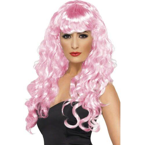 Vegaoo Lockige rosa Nixen-Perücke für Damen.