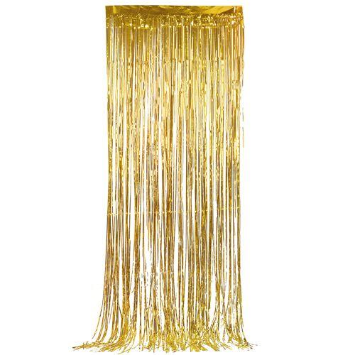 Vegaoo Glänzender Lametta-Vorhang goldfarben