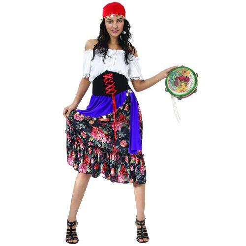 Vegaoo Damenkostüm Zigeunerin mit Blumenrock und Korsett - S