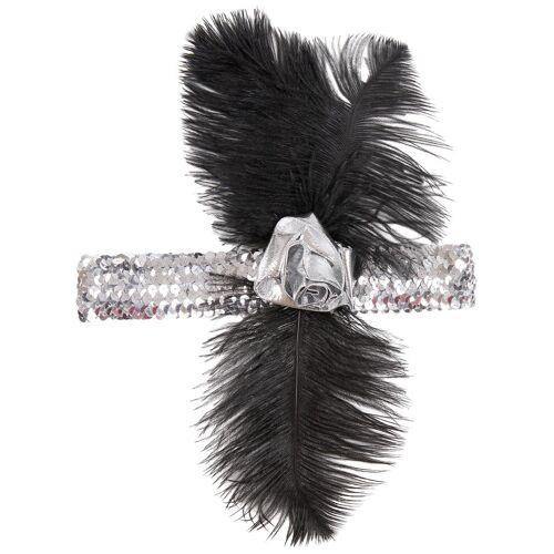 Vegaoo Charleston-Stirnband für Damen mit silber Pailletten