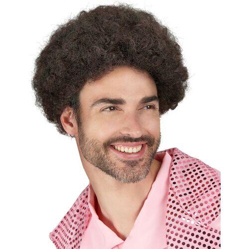 Vegaoo Lockige Disco-Perücke braun für Herren