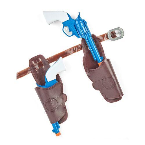 Vegaoo Pistolenset für Cowboys Waffen-Spielzeug braun-blau-weiss
