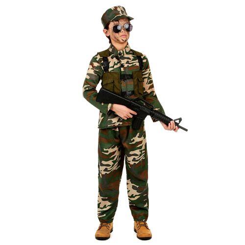 Vegaoo Soldaten-Kostüm für Jungen grün-braun-beige - 134/140 (10-12 Jahre)