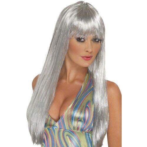 Vegaoo Lange silberne Perücke für Damen