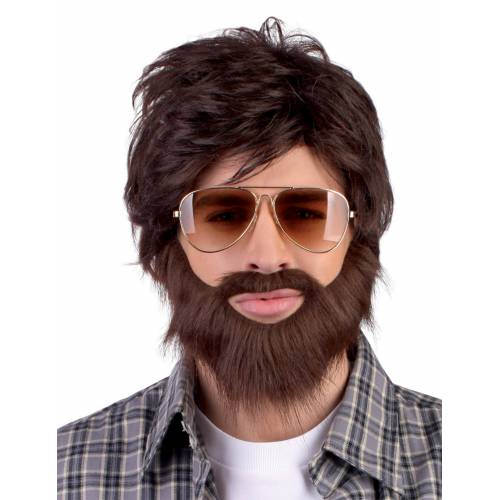 Vegaoo Perücke Dude mit Bart und Schnurrbart