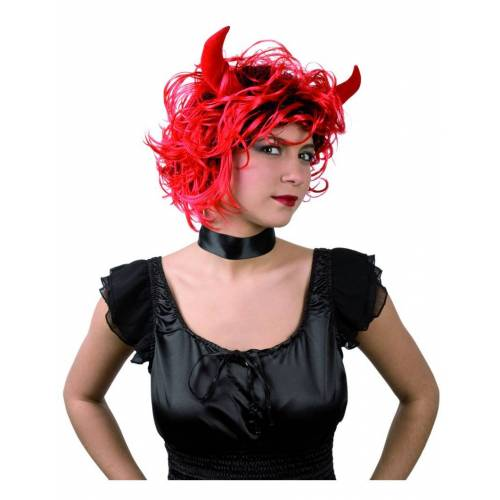 Vegaoo Teufelinnen-Perücke mit Hörnern Halloween