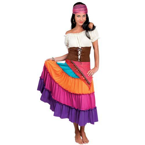 Vegaoo buntes Zigeunerinnen-Kostüm für Damen mit braunem Taillengürtel - L