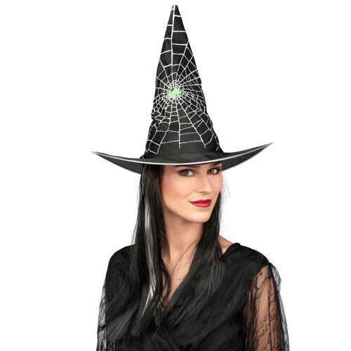Vegaoo Hexen-Perücke Halloween schwarz-weiß für Damen mit Hut
