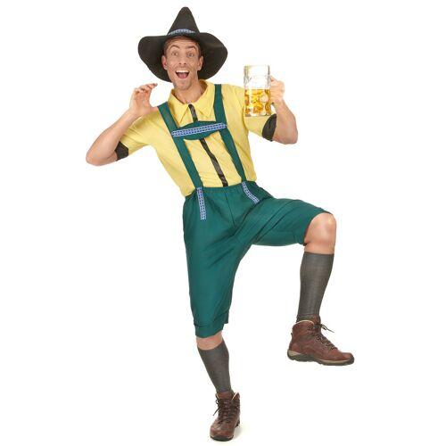 Vegaoo Bayrisches Kostüm Lederhose für Herren mit Hut grün-gelb - M