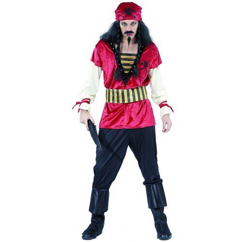 Vegaoo Piraten-Kostüm für Herren mit Bandana bunt - M