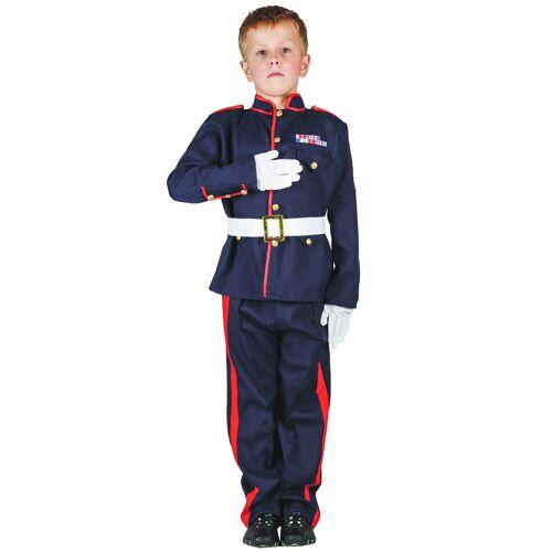 Vegaoo Offiziers-Kinderkostüm für Jungen blau-rot-weiss - 122/134 (7-9 Jahre)