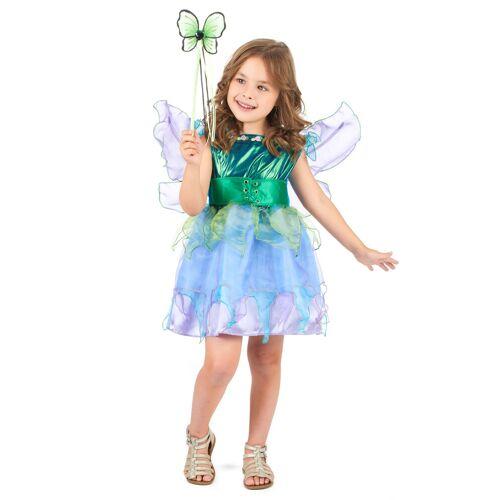 Vegaoo Feen-Kostüm für Mädchen Märchen grün-blau - 98 (2-3 Jahre)