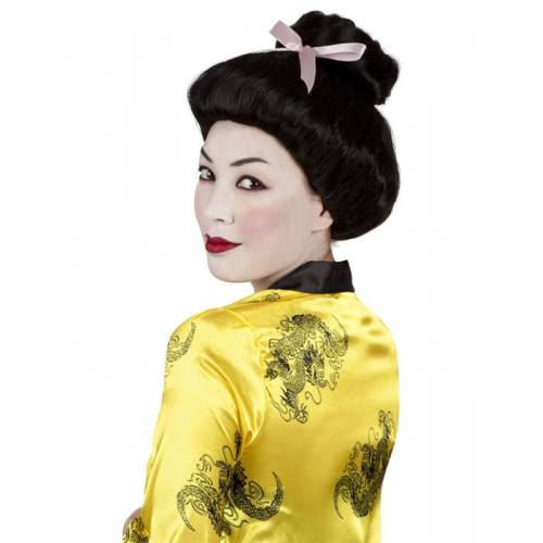 Vegaoo Geisha Perücke für Damen Hochsteckfrisur mit Schleife schwarz