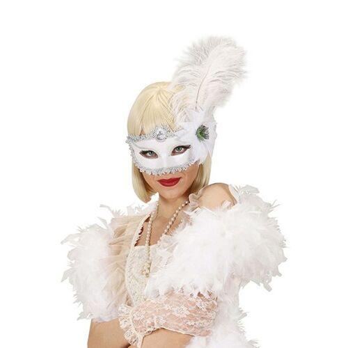 Vegaoo Weiße Feder-Augenmaske für Erwachsene