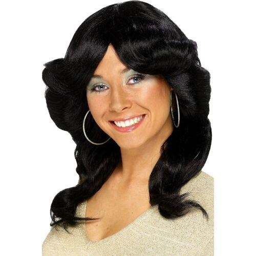 Vegaoo Schwarze 70er-Jahre-Perücke für Damen