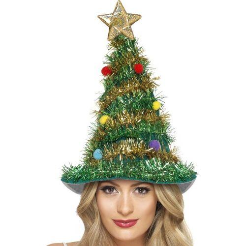 Vegaoo Geschmückter Weihnachtsbaum-Hut für Erwachsene