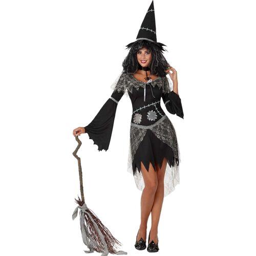 Vegaoo Halloween schwarze und graue Hexe Kostüm für Damen Halloween - M / L