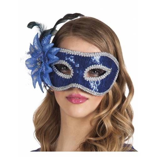 Vegaoo Venezianische Maske in blau mit Feder