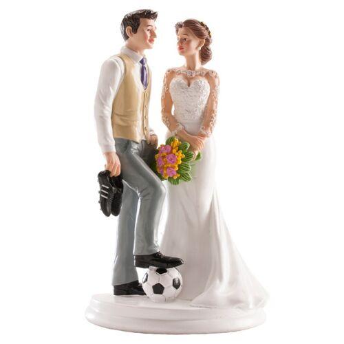 Vegaoo Fussball Brautpaar Figur für Torte