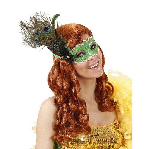 Vegaoo Venezianische Maske grün mit Pfaufeder