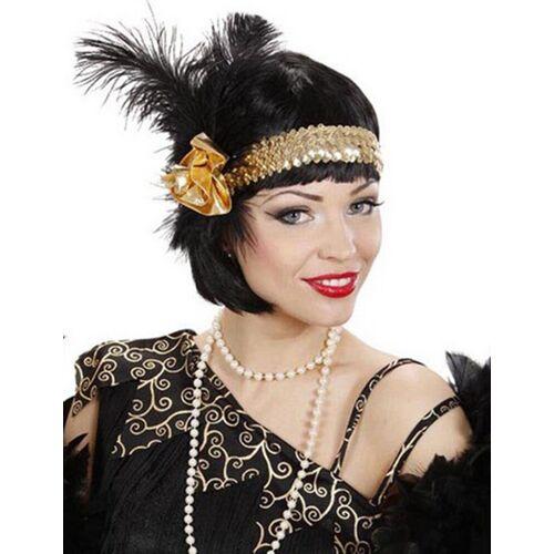 Vegaoo Charleston Stirnband mit Pailletten und Federn für Damen