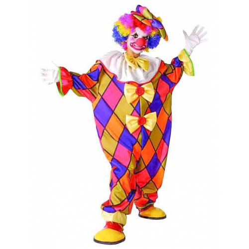 Vegaoo Clown-Overall für Kinder Zirkus bunt - 134/140 (10-12 Jahre)