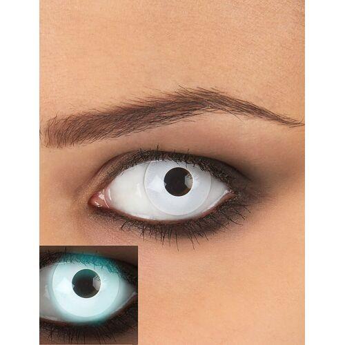 Vegaoo Weiße UV Kontaktlinsen für Erwachsene