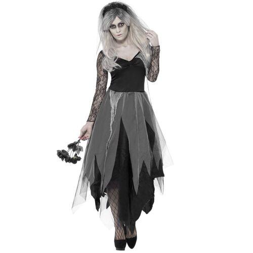 Vegaoo Hochzeitsgeist Kostüm für Frauen in schwarz - M