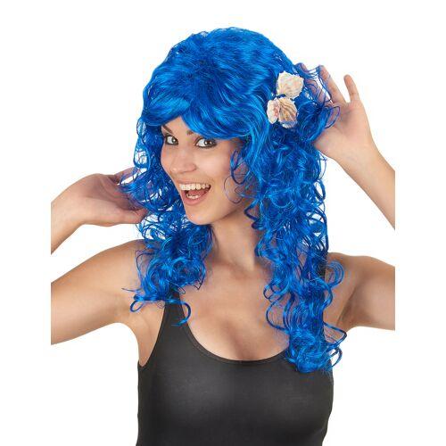 Vegaoo Blaue Langhaar-Perücke für Damen