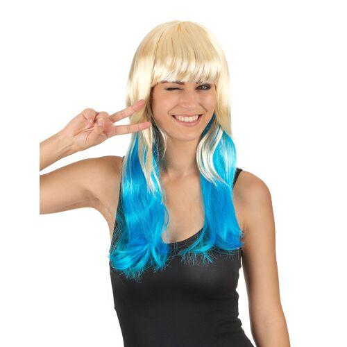 Vegaoo Tie + Dye blond-blaue Perücke für Frauen