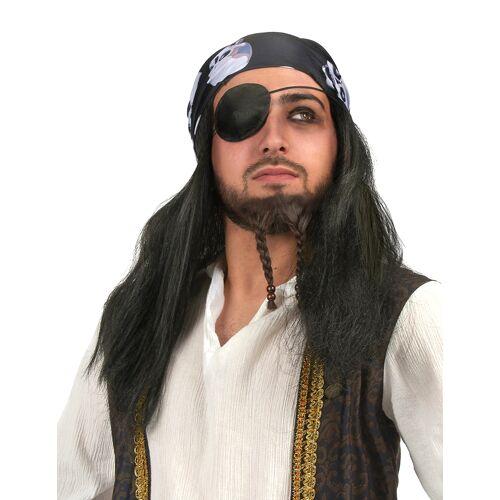 Vegaoo Piratenperücke mit Totenkopf Bandana für Herren