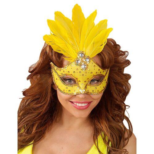 Vegaoo Gelbe Augenmaske mit Federn für Erwachsene