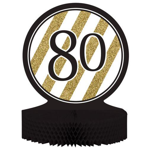 Vegaoo Tisch-Aufsteller - Zahl 80 - gold-schwarz