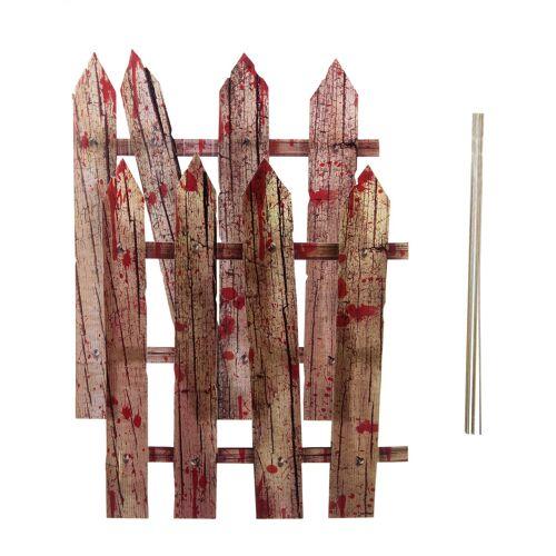 Vegaoo 2 x Halloween-Dekoration Blutiger Zaun 59 cm