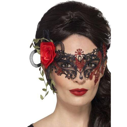 Vegaoo Dia de los Muertos Maske mit Spitze und Rose