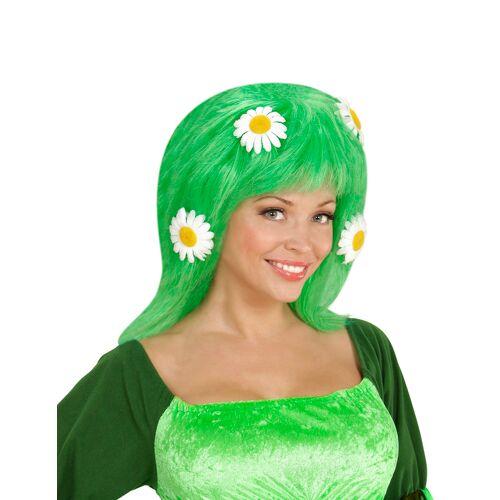Vegaoo grüne Perücke mit Margeriten für Damen