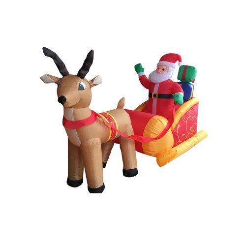 Vegaoo Aufblasbarer Weihnachtsmann im Schlitten 180cm