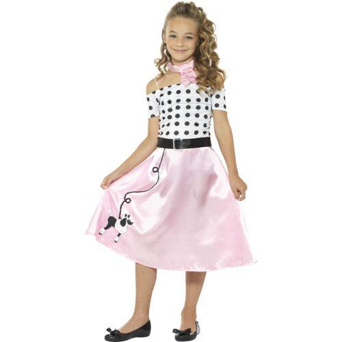 Vegaoo 50er-Jahre Mädchen-Kostüm Tanzkleid rosa-weiss-schwarz - 146/158 (10-12 Jahre)