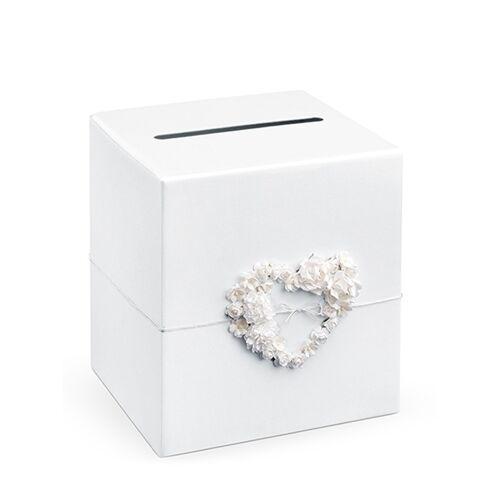 Vegaoo Geld-Urne mit Herz Hochzeitsdeko weiss