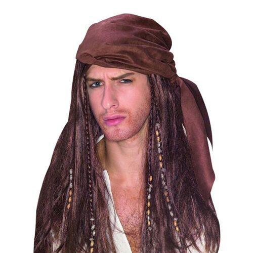 Vegaoo Piraten-Perücke für Männer braun