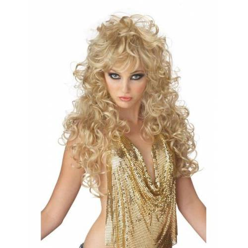 Vegaoo Lange Perücke blond für Damen 80er