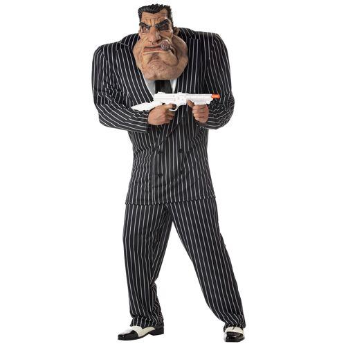 Vegaoo Muskulöses Mafiosi-Kostüm für Herren schwarz-weiss - L