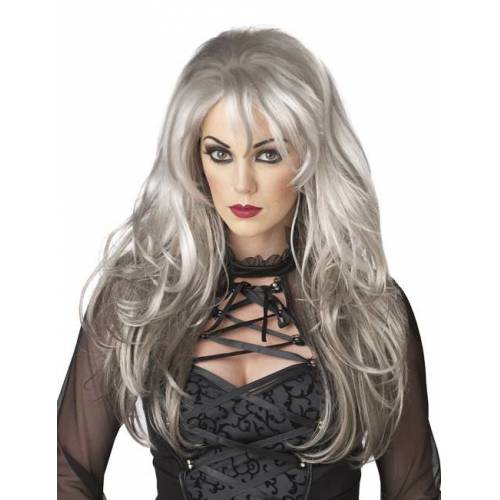 Vegaoo Perücke Frau lange graue Haare