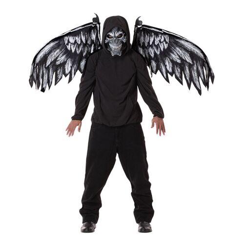 Vegaoo Böser Dämon Kostümzubehör Maske und Flügel Halloween schwarz - M (40/42)