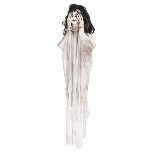 Vegaoo Geistermädchen Halloween-Dekoration 90cm schwarz weiß