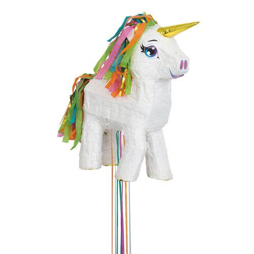 Vegaoo Piñata Einhorn weiß-regenbogenfarben 43 cm