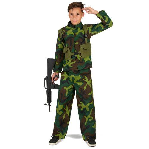 Vegaoo Soldatenkostüm für Jungen grün-braun-schwarz - 122/134 (7-9 Jahre)