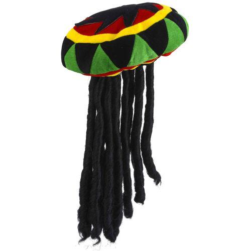 Vegaoo Rasta Mütze mit Dreadlocks für Erwachsene