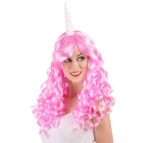 Vegaoo Pinke Einhorn-Perücke für Damen